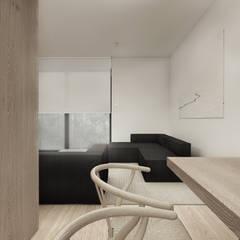 WNĘTRZE DOMU W LUBLINIE Minimalistyczny salon od r-m studio Minimalistyczny