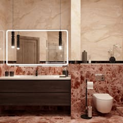 Квартира в Подольске с круглыми стенами: Ванные комнаты в . Автор – Дизайнер Иванова Виктория, Модерн