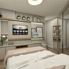 Dormitorios pequeños de estilo  por Nicole Sandri Arquitetura , Minimalista Tablero DM