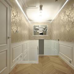 PROJEKT DOMU W STYLU EKLEKTYCZNYM Eklektyczny korytarz, przedpokój i schody od Piotr Stolarek Projektowanie Wnętrz Eklektyczny