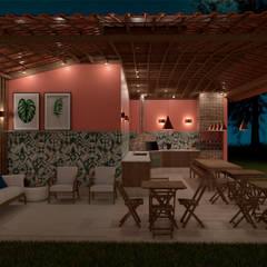 Villa Las Brisas - Grill Place at night by Elaine Hormann Architecture Mediterranean