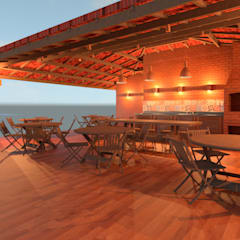 Villa Las Brisas - Grill Place in the afternon by Elaine Hormann Architecture Mediterranean Bricks