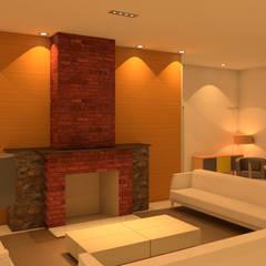 Villa Las Brisas - Living with fire place by Elaine Hormann Architecture Mediterranean Bricks