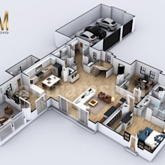 4-bedroom Simple Modern Residential 3D Floor Plan House Design by Architectural Rendering Company, Liverpool 根據 Yantram Architectural Design Studio 現代風