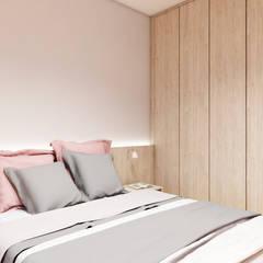 Mieszkanie z odrobiną zieleni i różu: styl , w kategorii Małe sypialnie zaprojektowany przez ODROBINA KOLORU PRACOWNIA ARCHITEKTURY WNĘTRZ Joanna Składanowska,Skandynawski Drewno O efekcie drewna