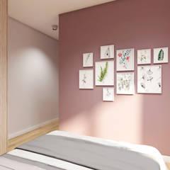 Mieszkanie z odrobiną zieleni i różu: styl , w kategorii Małe sypialnie zaprojektowany przez ODROBINA KOLORU PRACOWNIA ARCHITEKTURY WNĘTRZ Joanna Składanowska,Skandynawski
