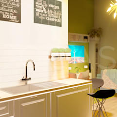 Cocinas pequeñas de estilo  por QCASA.Madrid. Viviendas industrializadas eficientes de hormigón, Rústico Concreto