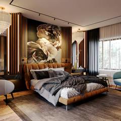 Дизайн интерьера загородного дома: Спальни в . Автор – Дизайнер Евгений Андреев, Эклектичный