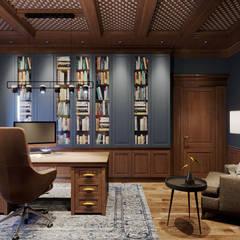 Дизайн интерьера загородного дома: Рабочие кабинеты в . Автор – Дизайнер Евгений Андреев, Эклектичный
