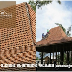 Hipped roof by Omah Genteng, Country Bricks