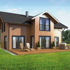 Chalets de estilo  por THULE Blockhaus GmbH - Ihr Fertigbausatz für ein Holzhaus, Escandinavo Madera Acabado en madera
