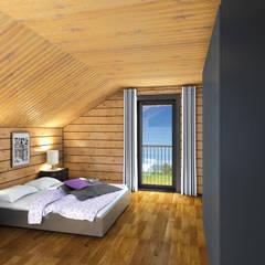 Small bedroom by THULE Blockhaus GmbH - Ihr Fertigbausatz für ein Holzhaus, Scandinavian Wood Wood effect
