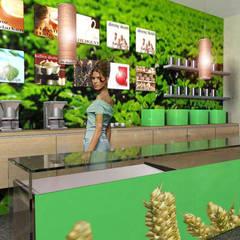 Oficinas y Tiendas de estilo  por SERPİCİ's Mimarlık ve İç Mimarlık Architecture and INTERIOR DESIGN, Tropical Bambú Verde