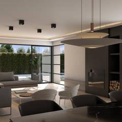 VILLA Salones de estilo moderno de Aguilar Arquitectos Moderno