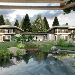 ANTE MİMARLIK  – Ölmez Villaları:  tarz Bahçe süs havuzu, Modern