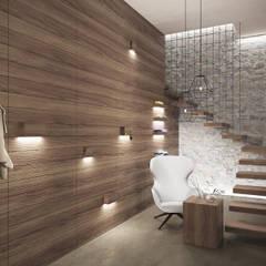 Pasillos, vestíbulos y escaleras minimalistas de Aeon Studio Minimalista Madera Acabado en madera