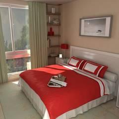 Condo Jardines de Champagnat: Dormitorios pequeños de estilo  por Arq. Marqués & Asoc. (EA - Estudio de Arquitectura),Minimalista