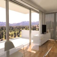 Edificio moderno de apartamentos con terrazas en Oliva Nova Salones de estilo moderno de Barreres del Mundo Architects. Arquitectos e interioristas en Valencia. Moderno Madera Acabado en madera