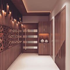 Main entrance foyer area interior decoration Modern corridor, hallway & stairs by Monoceros Interarch Solutions Modern MDF
