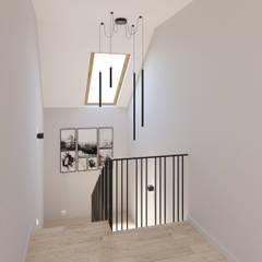 Dom jednorodzinny pod Katowicami Nowoczesny korytarz, przedpokój i schody od TIKA DESIGN Nowoczesny