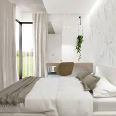 Apartament E w Bielsku-Białej Minimalistyczna sypialnia od TIKA DESIGN Minimalistyczny