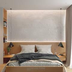 White AP-43:  Small bedroom вiд HouseForm Design Studio, Мінімалістичний Дерево Дерев'яні