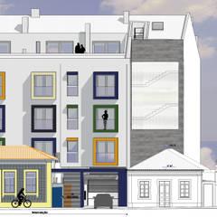Rua Aires Barbosa, n.ºs 23 e 25, em Aveiro Espaços comerciais minimalistas por Arquitecta Salette Marques Unipessoal Lda. Minimalista Cerâmica