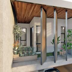 Balcón de estilo  por Structura Architects, Tropical Madera Acabado en madera