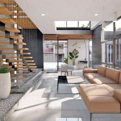 Modern 3-Storey Residence with Roof Deck by Structura Architects Modern Concrete