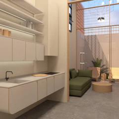 Small kitchens by ESTUDIO CREATIVO. PALOMA DE LA ROSA, Minimalist انجینئر لکڑی Transparent