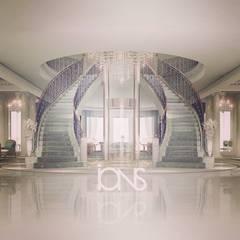 Hollywood Regency in Home Interior Design Pasillos, vestíbulos y escaleras coloniales de IONS DESIGN Colonial Hierro/Acero