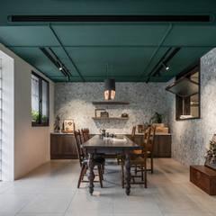 아시아스타일 벽지 & 바닥 by 漢玥室內設計 한옥 우드 + 플라스틱