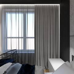 Sypialnia beton i granat od Wkwadrat Architekt Wnętrz Toruń Minimalistyczny Drewno O efekcie drewna