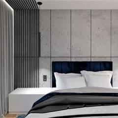 Sypialnia beton i granat od Wkwadrat Architekt Wnętrz Toruń Minimalistyczny Płyta MDF