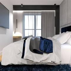 Sypialnia beton i granat od Wkwadrat Architekt Wnętrz Toruń Nowoczesny Beton