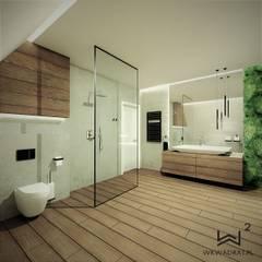 Łazienka na poddaszu WERSJA 3 Rustykalna łazienka od Wkwadrat Architekt Wnętrz Toruń Rustykalny Szkło