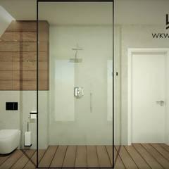Łazienka na poddaszu WERSJA 3 Rustykalna łazienka od Wkwadrat Architekt Wnętrz Toruń Rustykalny Beton