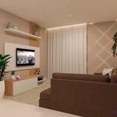 Reforma da residência R.V. Salas de estar modernas por Daniela Ponsoni Arquitetura Moderno