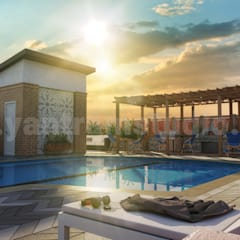 3D Exterior Rendering Services of Architectural Courtyard Pool View by 3D Animation Studios, Doha – Qatar by Yantram Architectural Design Studio 클래식