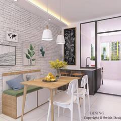 Queen's Road Scandinavian style dining room by Swish Design Works Scandinavian Plywood
