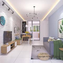 Queen's Road Scandinavian style living room by Swish Design Works Scandinavian Plywood