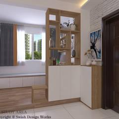 Queen's Road Scandinavian style corridor, hallway& stairs by Swish Design Works Scandinavian Plywood