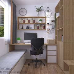 Queen's Road Scandinavian style study/office by Swish Design Works Scandinavian Plywood