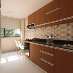 Diseño y remodelación - Cocina Apto 403 de DIKTURE Arquitectura + Diseño Interior Moderno Madera Acabado en madera