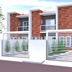 Projeto de casas geminadas por Jr Arquitetura + interiores Moderno Pedra