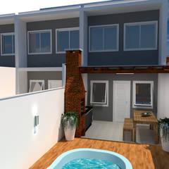 Projeto de casas geminadas por Jr Arquitetura + interiores Moderno Madeira Efeito de madeira