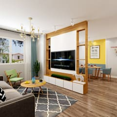 4-Room Resale Flat Scandinavian style living room by Swish Design Works Scandinavian Plywood