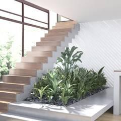 Minimalist corridor, hallway & stairs by МосАрх.рф Minimalist