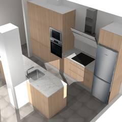 diseño cocina 3d Refovert S.L. CocinaArmarios y estanterías Aglomerado Acabado en madera