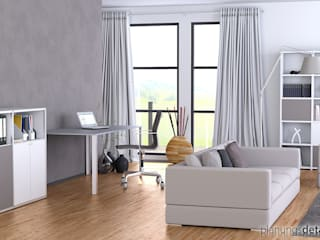 3D-Visualisierung eines Homeoffice Moderne Arbeitszimmer von planungsdetail.de GmbH Modern